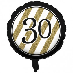 Folienballon Black Gold 30. Geburtstag