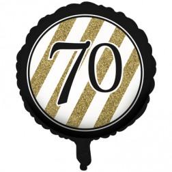 Folienballon Black Gold 70. Geburtstag