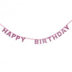 Happy Birthday Buchstaben Banner Rosa 1,85m