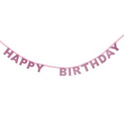 Happy Birthday Buchstaben Banner Rosa 1,85m