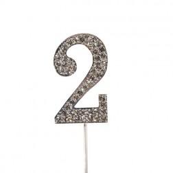 Diamante Zahl Silberstab 2