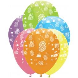 Luftballons Zahl 8 bunt 6 Stück