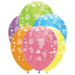 Luftballons Zahl 7 bunt 6 Stück