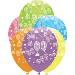Luftballons Zahl 60 bunt 6 Stück