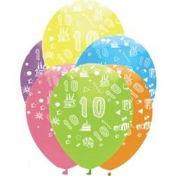Luftballons Zahl 10 bunt 6 Stück