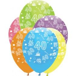Luftballons Zahl 40 bunt 6 Stück