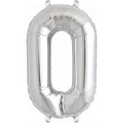 Air Folienballon Symbol 0 silber 41cm
