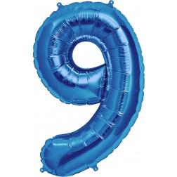 Air Folienballon Zahl 9 blau 41cm