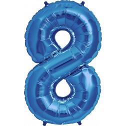 Air Folienballon Zahl 8 blau 41cm