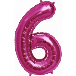 Air Folienballon Zahl 6 magenta 41cm