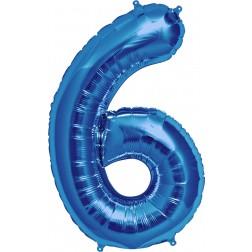 Air Folienballon Zahl 6 blau 41cm