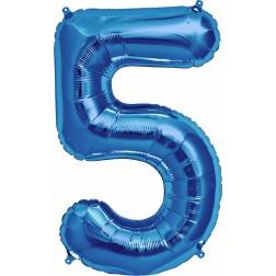 Air Folienballon Zahl 5 blau 41cm