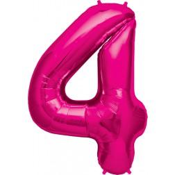 Air Folienballon Zahl 4 magenta 41cm