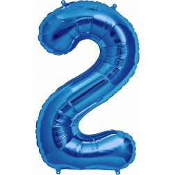 Air Folienballon Zahl 2 blau 41cm