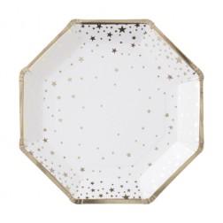 Pappteller Metallic Star gold 8 Stück