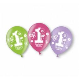 Luftballons 1st Birthday Girl 6 Stück