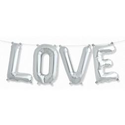 Air Folienballon Kit LOVE silber