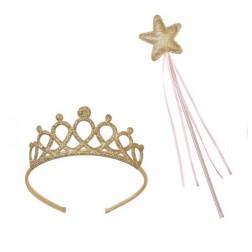 Krone mit Zauberstab gold rosa 2er Set