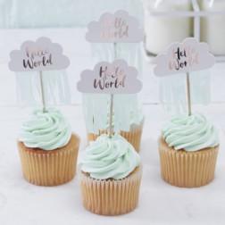 Cupcake Topper Hello World 10 Stück