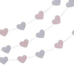 Girlande Glitter Herzchen Pink Silver 5m