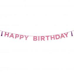 Happy Birthday Banner glitter pink 3m