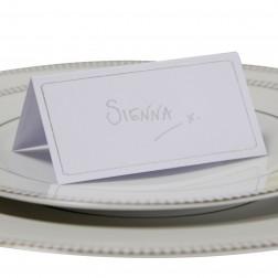 Platzkarten Weiß Silber Metallic Perfection 10 Stück