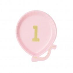 Pappteller 1st Birthday Luftballon rosa 12 Stück