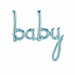 Baby Schriftzüge Pastel Blau 114cm