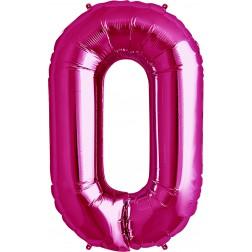 Folienballon Symbol 0 magenta 86cm