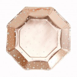 Pappteller Star Rose Gold 8 Stück