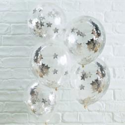 Luftballons mit Konfetti Sterne silber 5 Stück