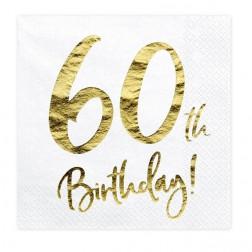 Servietten 60. Geburtstag Gold 20 Stück