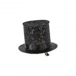 Mini Black Glitter Top Hat
