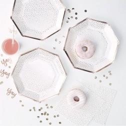 Pappteller rosegold dots 8 Stück