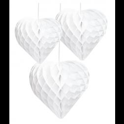 Wabenbälle Herz weiß 3 Stück