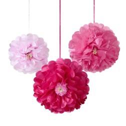 Pom Poms Flower pink 3 Stück