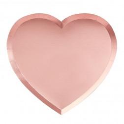 Pappteller Herz rosa 8 Stück