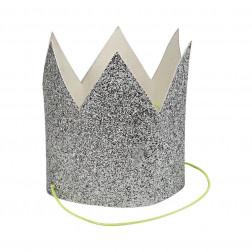 Kronen mini glitter silber 8 Stück
