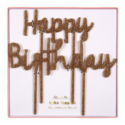 Cake Topper Happy Birthday Acryl gold glitter