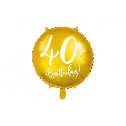 Folienballon 40th Birthday gold 45cm