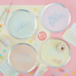 Pappteller Birthday Pastel 8 Stück