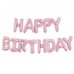 Happy Birthday Air Folienballon ROSA