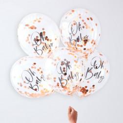 Luftballons Oh Baby Roségold 5 Stück