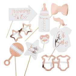 Photo Booth Baby Shower rosegold 10 Props