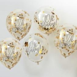 Luftballons mit Konfetti Oh Baby! gold 5 Stück