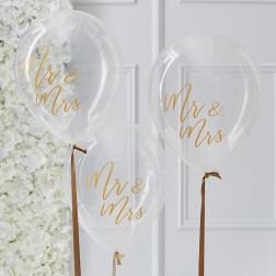 Luftballons Mr & Mrs 5 Stück