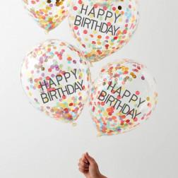 Luftballons Happy Birthday Konfetti bunt 5 Stück