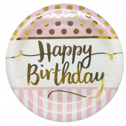Pappteller chic Birthday Pink 8 Stück