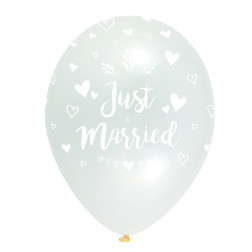 Luftballons Just Married Crystal Clear 6 Stück