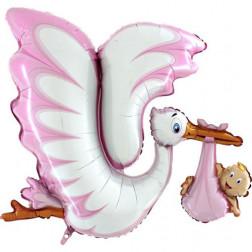 Folienballon Storch it s a Girl 135cm
